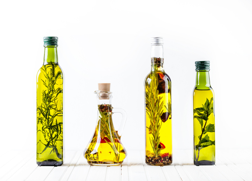 Homemade oil with herbs